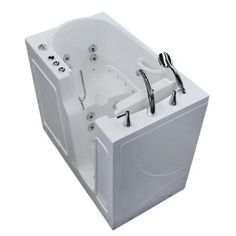 Universal Tubs 3.9 ft. Right Drain Walk-In Whirlpool and Air Bath Tub in White-HD2646RWD - The Home Depot