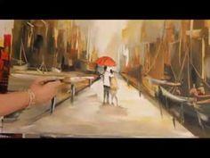 Gabriela Mensaque Pintando Caminantes sobre la lluvia