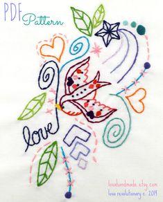 Love Bird Sparrow Tattoo Style Sampler Hand by lovahandmade, $3.50
