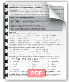 Printables Iambic Pentameter Worksheet a neat grid format guides students through the difficult task of iambic pentameter lesson