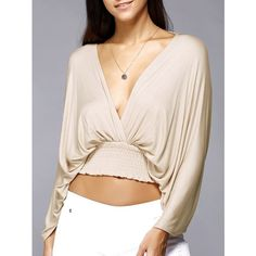 Plunge Neck Backless Dolman Sleeve Stretched Waist Cropped Blouse buy online store in Europe. Backless Top, Casual Outfits, Fashion Outfits, Fashion Clothes, Fashion Seasons, Crop Blouse, Types Of Sleeves, Blouse Designs, Blouses For Women