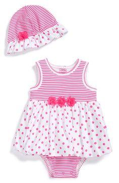 Little Me Sleeveless Bodysuit Dress & Hat (Baby Girls) available at #Nordstrom