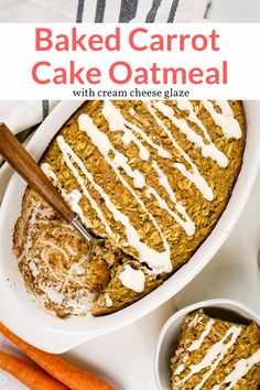 This healthy carrot cake oatmeal is easy to make, packed with all the flavor of classic carrot cake, and has the most amazing cream cheese glaze. Baked Oatmeal Recipes, Oats Recipes, Easy Cookie Recipes, Pudding Recipes, Cooking Recipes, Fudge Recipes, Baked Oats, Carrot Recipes, Crockpot Recipes