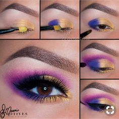 MotivesMaven Elena Marino did it again! Love color This is just what you need 1 Put Gold Rush on the first part of the lid 2 Pat Deep End on the outer lid and mix where both colors meet 3 Use Deep End the outer corner of your - e Makeup Eye Looks, Eye Makeup Steps, Blue Eye Makeup, Pretty Makeup, Eyeshadow Makeup, Makeup Eyes, 80s Eye Makeup, Makeup Wings, Make Up Tutorial Eyeshadows