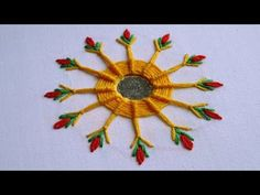 Hand Embroidery | Mirror Work with Spider Web Stitch | Hand Embroidery Designs #27 - YouTube
