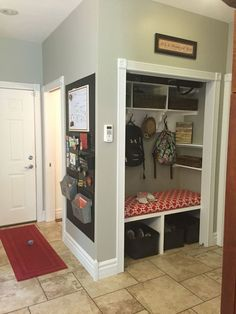 Home Trendy Flur Mantel Schrank Ideen Eingang To find the plants that will make this landscaping Front Hall Closet, Hallway Closet, Closet Mudroom, Hallway Storage, Garage Closet, Closet Doors, Closet Redo, Closet Remodel, Garage Remodel
