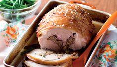Apple-stuffed pork neck in cider #recipe.