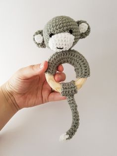 Crochet monkey rattle / teether byThoresby Cottage