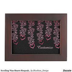 Shop Scrolling Vine Hearts Keepsake Box created by BlueRose_Design. Wooden Keepsake Box, Keepsake Boxes, Valentine Day Gifts, Valentines, Mahogany Color, Black Velvet, Cyber, Colorful Backgrounds, Mall