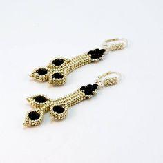 Earrings - Silver and Black Herringbone Beaded Earrings, Black and Silver Seed Bead Earrings, Leverback Earrings, Hand Made Beaded Earrings by PeggyGsBaubles on Etsy