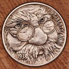 Hobo Nickels carved in 2012 by Aleksey Saburov