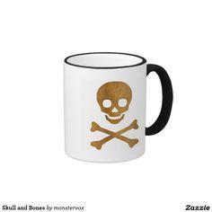 Skull and Bones Ringer Mug #Skull #Bones #Skeleton #Holiday #Halloween #Coffee #Tea #Chai #Mug