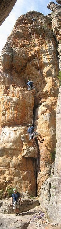 Rappeling- Mount Arapiles is a rock formation that rises about 140 metres above the Wimmera plains in western Victoria, Australia.