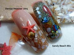 A Beach acrylic nail mix I made to look like sand . One nail is the BEACH and the other is Under the Ocean . Come LIKE my Facebook page Bold and Beautiful Nails and watch my nail tutorials on Youtube @ Denisejohn65