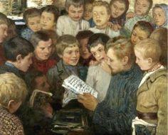 Na escola da aldeia Nikolai Bogdanov-Belsky (Rússia, 1868-1945) óleo sobre tela