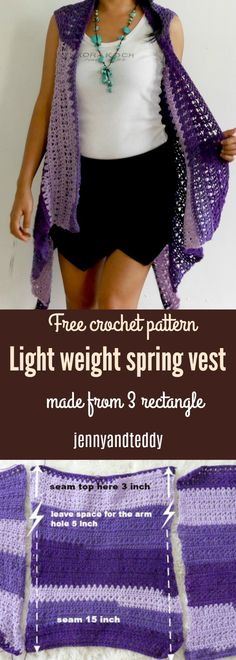 Light weight spring vest free crochet pattern, beginner friendly only 2 basic crochet stitch need, single and double crochet. made from 3 rectangle.