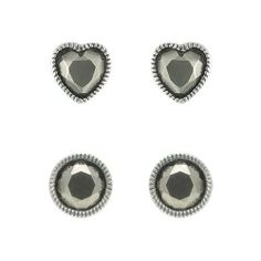 Aura 925 Sterling Silver Marcasite Earring Round and Heart Shape (2 Pairs) - Free Shipping Aura by Silver Master, http://www.amazon.co.uk/dp/B00I9PX28A/ref=cm_sw_r_pi_dp_sDTatb1SFY7EZ
