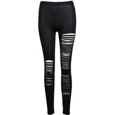 Chicnova Women's Ripped Cotton Leggings One Size Black at Amazon... ($15) ❤ liked on Polyvore featuring pants, leggings, bottoms, jeans, calças, distressed pants, cotton leggings, legging pants, ripped pants and torn pants