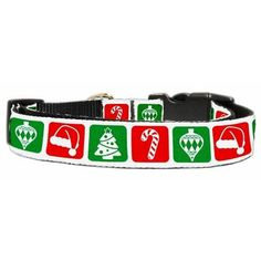 """Timeless Christmas Nylon Ribbon Collar Medium  This 1"""" wide size medium dog collar is made of durable nylon with a high quality ribbon overlay. It is adjustable to fit a neck size from 10-18""""."""