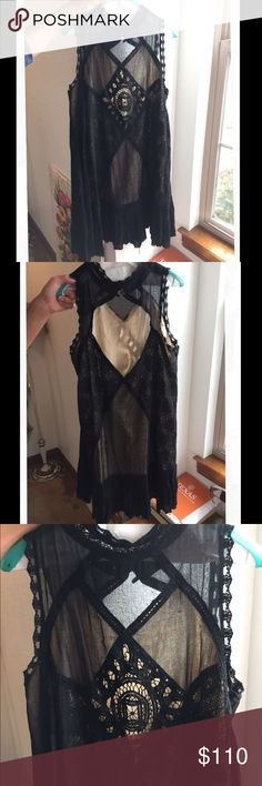 Free People Black Crochet Night Out Dress Worn Once! Perfect condition, beautiful crochet dress featuring a high neck and open back!                              Free people size M Free People Dresses Mini