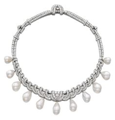 SPECTACULAR NATURAL PEARL AND DIAMOND NECKLACE, BULGARI