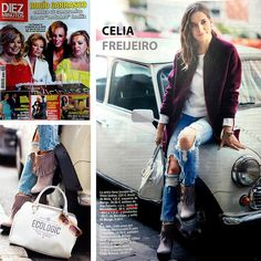 Celia Freijeiro en la revista Diez Minutos con el bolso Ecologic Mediterranean en color negro. #brochbroch #modaecológica #cueroreciclado