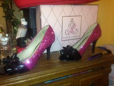 My wedding shoes halfway there modge podge and pink glitter is all it takes