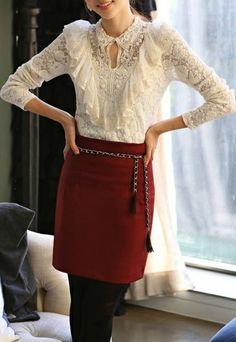 Long Sleeve Women Sweet Round Neck Korean Fashion Hot Sale Lace Blouse