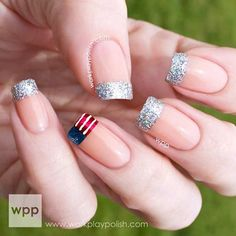 Elegant 4th of July Nails - Glittery French Manicure + Flag Tip Accent Nail