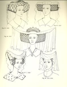 Glossary of English Hairstyles and Headdress – Helianthus – Style is art Moda Medieval, Medieval Hats, Medieval Costume, Medieval Fashion, Medieval Fantasy, Medieval Dress, Historical Costume, Historical Clothing, 15th Century Fashion