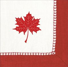 Caspari Red Linen with Custom Maple. Canadian Thanksgiving, Cocktail Napkins, Biodegradable Products, Favorite Color, Tatting, Custom Design, Gift Wrapping, Entertaining, Bar Tools