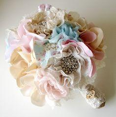 Fabric flower bouquet, Shabby chic weddings, Wedding bouquet, Blue bridal bouquet, Unique wedding bouquet. £150.00, via Etsy.