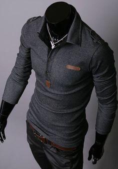 Men's Cotton T-Shirt With Stylish Slimming Style and Shoulder Mark Embellished Lapel Long Sleeves Design (BLACK,M) China Wholesale - Sammydress.com