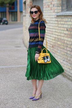 green metallic pleated skirt, striped metallic blouse, Cesare Paciotti heels