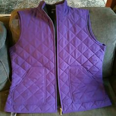 Vest Quilted style outer vest, purple with black lining . Hardly worn, in new condition. Chaps Jackets & Coats Vests