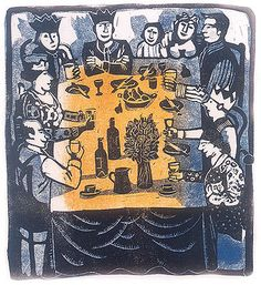 Family Party ~ Linocut ~ Elaine Nason