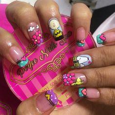Snoopy Nails, Disney Acrylic Nails, Frozen Nails, Wow Nails, Birthday Nails, Makeup Art, Nail Care, Summer Nails, Pedicure