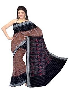 UNM6156- Grand corporate French beige brown handloom Sambalpuri mercerized sico saree