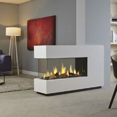 DRU - Metro Eco Wave De ultieme driezijdige gashaard als roomdivider. Double Fireplace, Home Fireplace, Fireplace Design, Gas Fireplaces, Fireplace Modern, Fireplace Glass, Portable Room Dividers, Sliding Room Dividers, Contemporary Gas Fires
