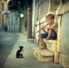 Boy and cat by Vladimir Zotov