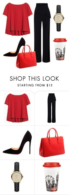 """""""office 1"""" by lovebaby1234 ❤ liked on Polyvore featuring Max&Co., Roland Mouret, Christian Louboutin, Prada, Burberry and Portmeirion"""