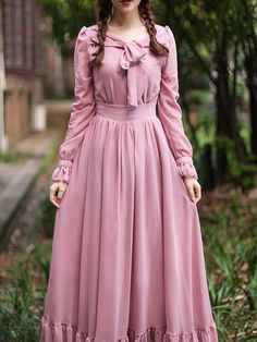 Pink Bow Tie Back Ruffle Hem Empire Maxi Dress - Olivia Maxi Dresses Trendy Dresses, Women's Fashion Dresses, Elegant Dresses, Hijab Fashion, Vintage Dresses, Casual Dresses, Maxi Dresses, Estilo Cool, Mode Abaya