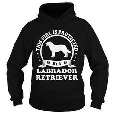 Girl is protect by labrador retriever dog shirt