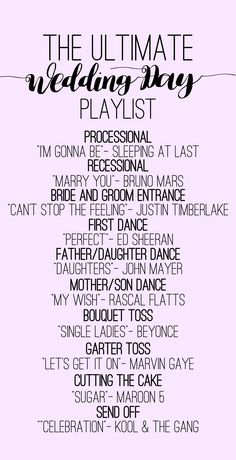 A playlist for all the important moments of your wedding day.