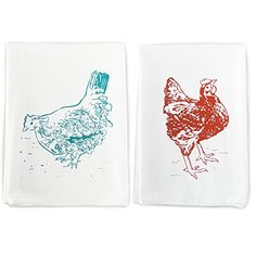 Rigel Stuhmiller Red and Blue Chicken Kitchen Set of 2 Screenprinted 100 Cotton Flour Sack Hen and Rooster Farm House Dish Towels Printed In USA -- For more information, visit image link. (This is an affiliate link) #DiningEntertaining