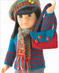 doll accessories Knit or crochet this adorable pullover and shoulder bag or beret and scarf to accessorize Simplicity doll clothes pattern Knitting Dolls Clothes, Ag Doll Clothes, Crochet Doll Clothes, Knitted Dolls, Doll Clothes Patterns, Crochet Dolls, Doll Patterns, Crochet Patterns, Sweater Patterns