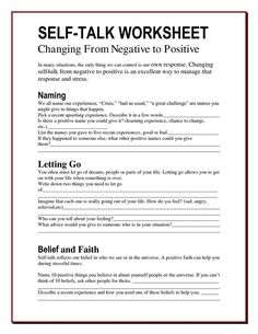 The Worry Bag: Self-Talk Worksheet - the healing path with children