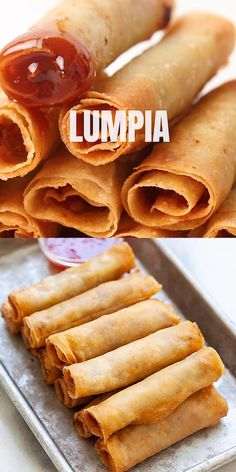 Lumpia are Filipino fried spring rolls filled with ground pork and mixed vegetables. This lumpia recipe is authentic and yields the crispiest lumpia ever. Serve them as an appetizer or finger food, wi Pork Spring Rolls, Fried Spring Rolls, Chicken Spring Rolls, Tasty Videos, Food Videos, Egg Roll Recipes, Good Food, Gastronomia, Japanese Recipes