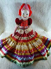 "Vintage Hungary Hungarian Doll Cloth Body Painted Face Ethnic 17"" Magyar"