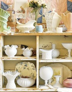 Milk Glass Collection Display | Milk Glass on Display at St Croix County Dry Goods